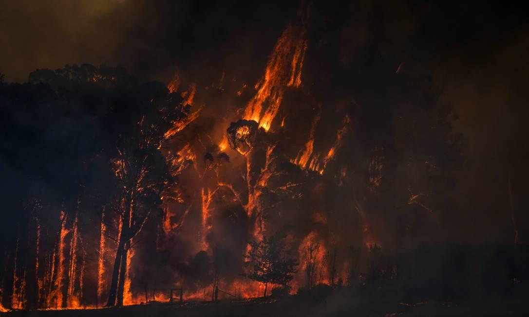 Chamas tomam conta de floresta em Yatte Yattah. Na maior crise de incêndios da Austrália, milhões de acres de terra foram devastados Foto: Matthew Abbott / The New York Times