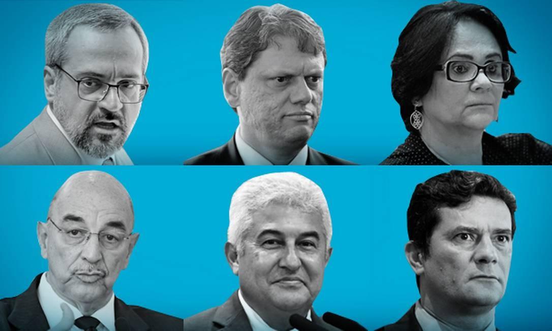 Parte do primeiro escalão do governo Bolsonaro Foto: Editoria de arte