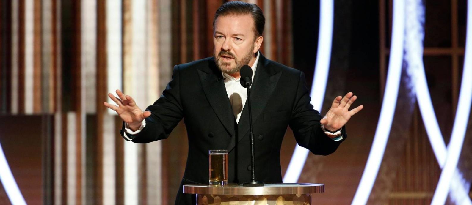 Ricky Gervais durante o Globo de Ouro 2020 Foto: HANDOUT / REUTERS