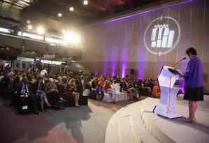 A presidente da Fiocruz, Nisia Trindade Lima, durante apresentação na Conferência Internacional sobre População e Desenvolvimento (CIPD), da ONU, em Nairóbi, no Quênia Foto: ALBERT GONZALEZ FARRAN / UNFPA/ALBERT GONZÁLEZ FARRAN/12-11-19