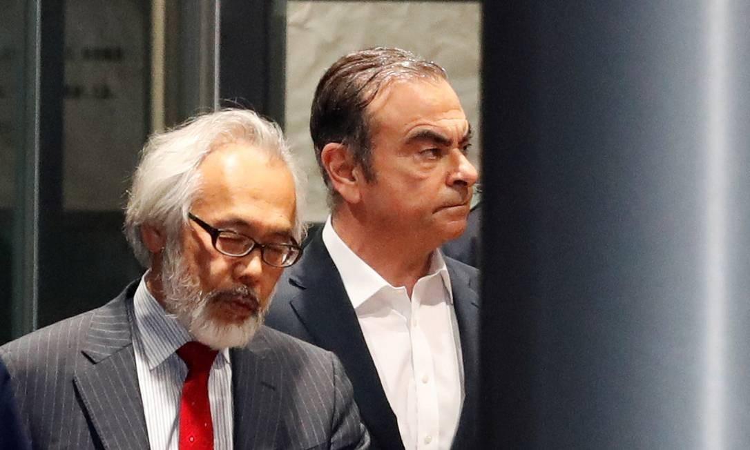 Carlos Ghosn deixa a cadeia sob fiança em abril do ano passado, no Japão. Foto: Issei Kato / REUTERS