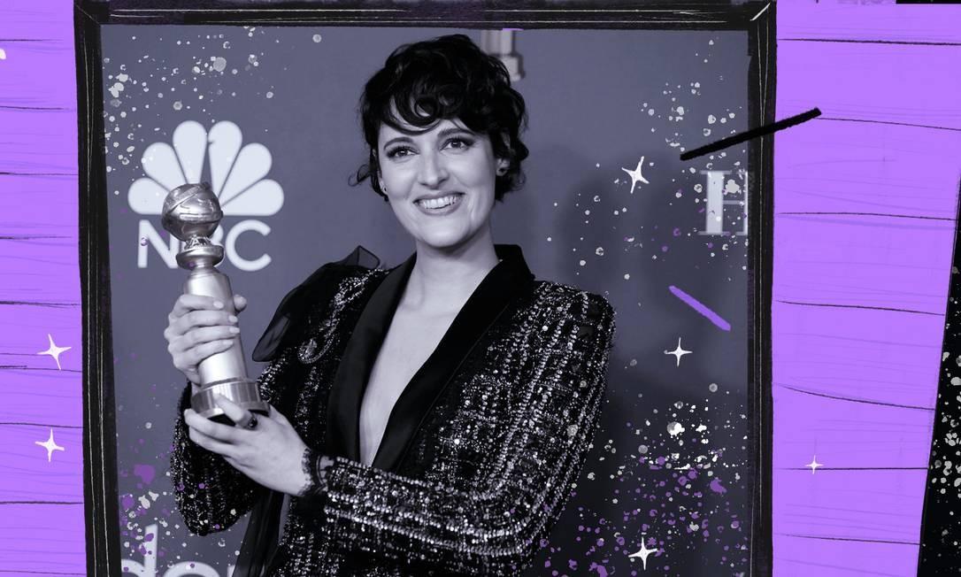 """Phoebe- Waller-Bridge com um dos dois Globos de Ouro que ganhou por """"Fleabag"""": Melhor Série de Comédia e Melhor Atriz de Série de Comédia Foto: Reuters"""