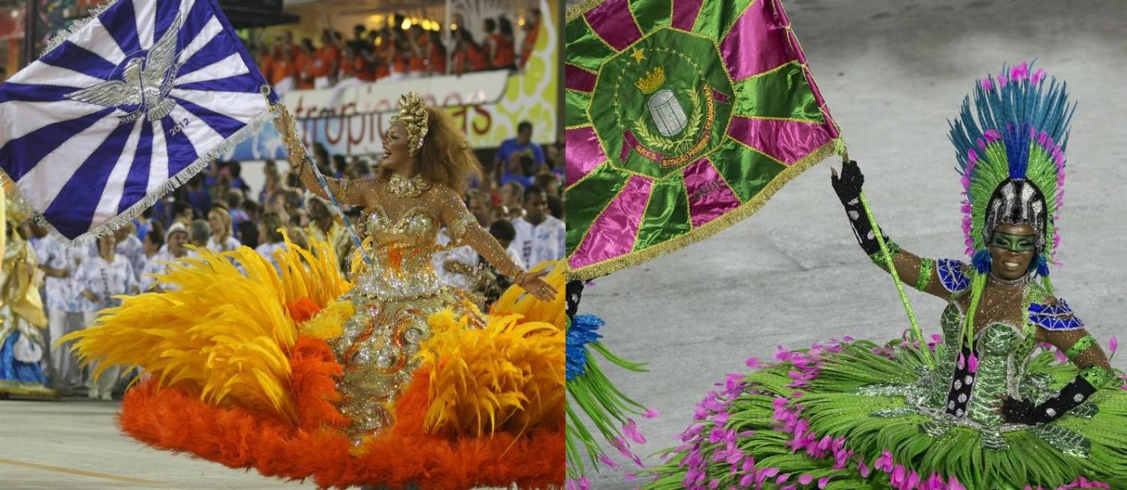 Lucinha Nobre e Squel: porta-bandeiras da Portela em 2012 e da Mangueira em 2019, respectivamente Foto: Arquivo