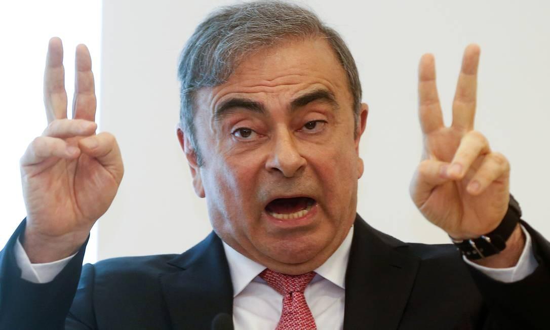 """Ex-presidente do conselho de administração da Nissan, Carlos Ghosn se disse inocente e vítima de """"uma campanha de difamação""""ao conceder, na manhã desta quarta-feira, em Beirute Foto: MOHAMED AZAKIR / REUTERS"""