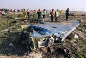 Destroços do Boeing 737-800 da Ukraine International Airlines Foto: AKBAR TAVAKOLI / AFP
