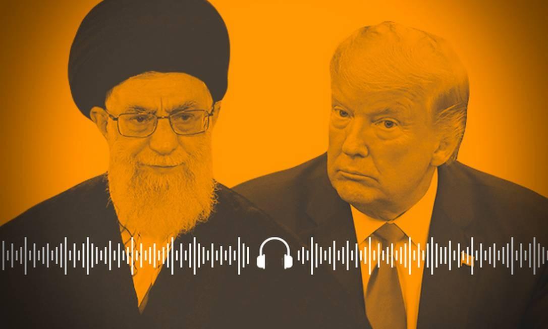 Em lados opostos. Aiatolá Ali Khaminei e presidente americano Donald Trump; sinais de redução da tensão entre EUA e Irã Foto: Arte