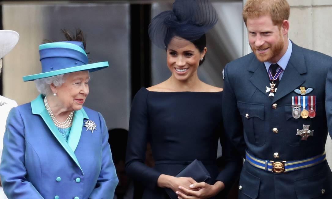 A rainha Elizabeth II, Meghan e Harry Foto: Chris Jackson / Getty Images
