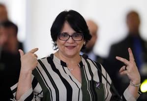 A ministra da Mulher, da Família e dos Direitos, Damares Alves Foto: Jorge William / Agência O Globo