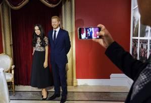 Estátuas de cera de Meghan e Harry no museu MadameTussauds, em Londres, em 2018 Foto: Evan Agostini / Evan Agostini/Invision/AP
