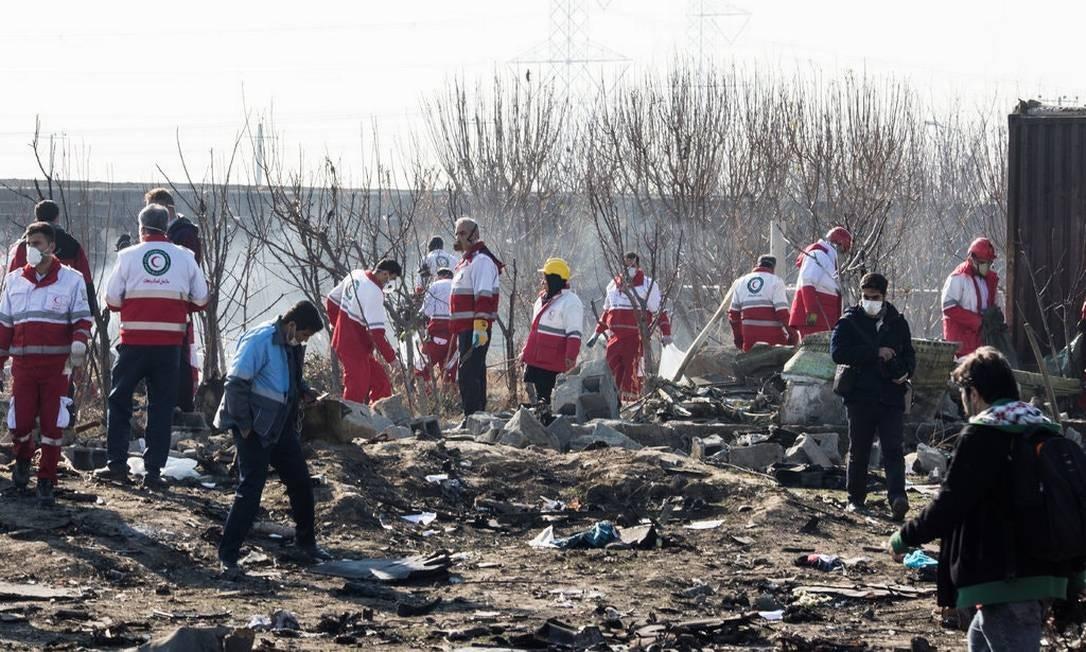 Local da queda do avião da Ukraine International Airlines, em Teerã Foto: Arash Khamooshi / New York Times
