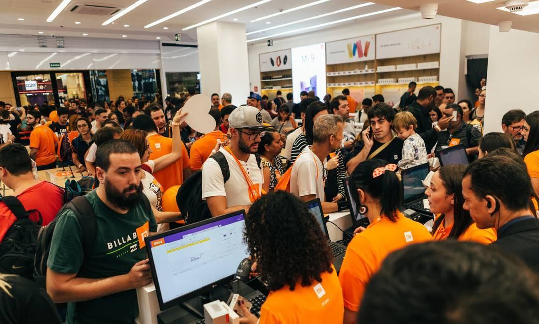A inauguração da loja da Xaomi no Ibirapuera, em São Paulo: mais de sete mil pessoas em um fim de semana Foto: Divulgação