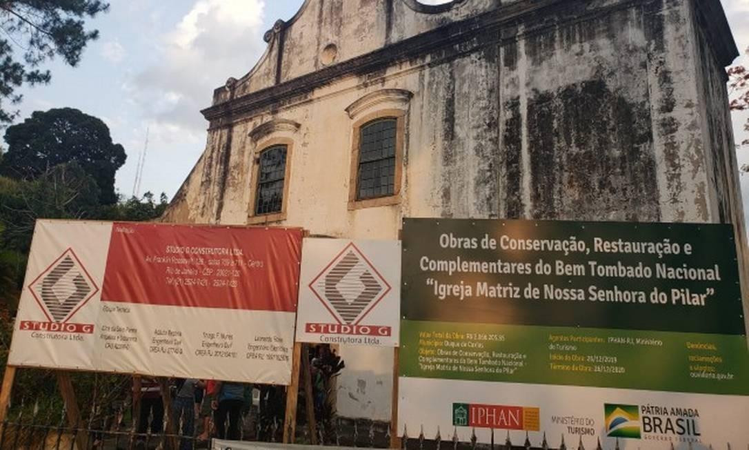 Obras para restauração comandadas pelo Iphan na Igreja do Pilar, em Duque de Caxias Foto: Daniela Reis / Divulgação
