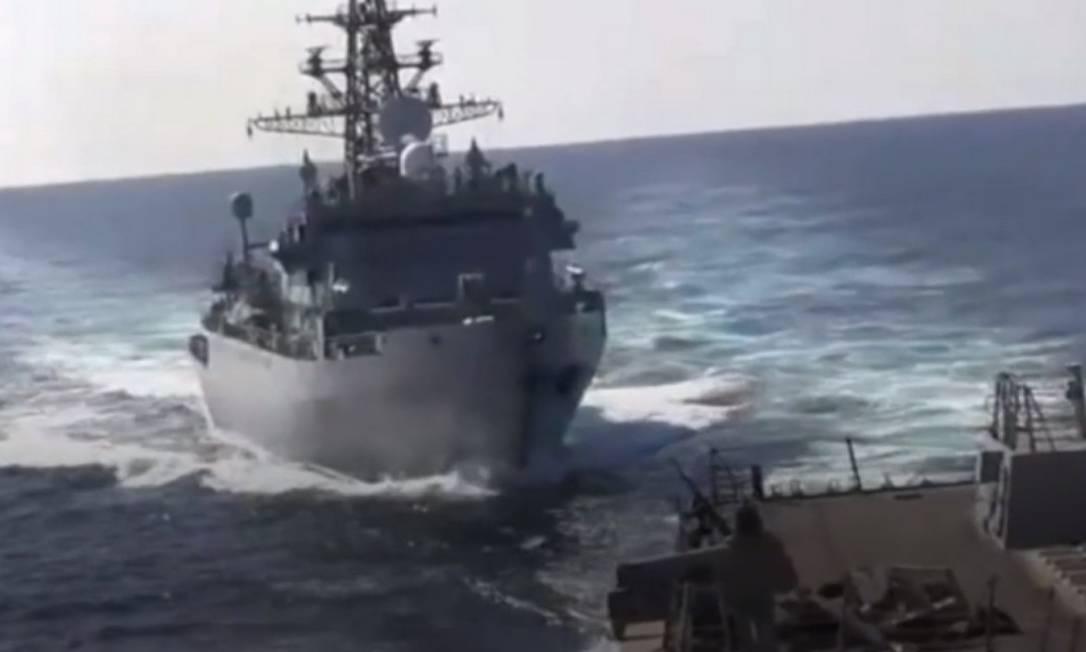 Navios quase se chocaram no Mar Arábico Foto: Reprodução