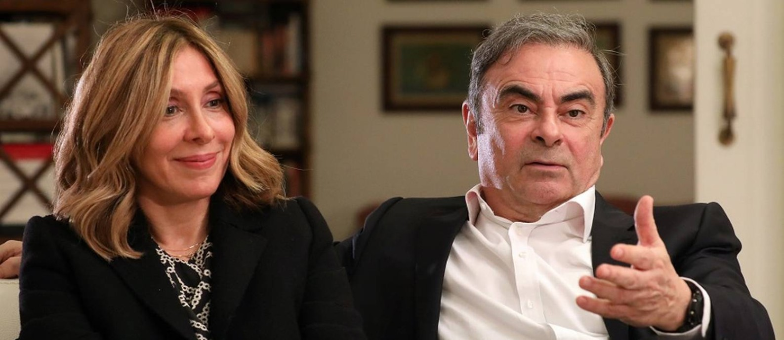 Carole e Carlos Ghosn em Beirute. Foto: MOHAMED AZAKIR / REUTERS