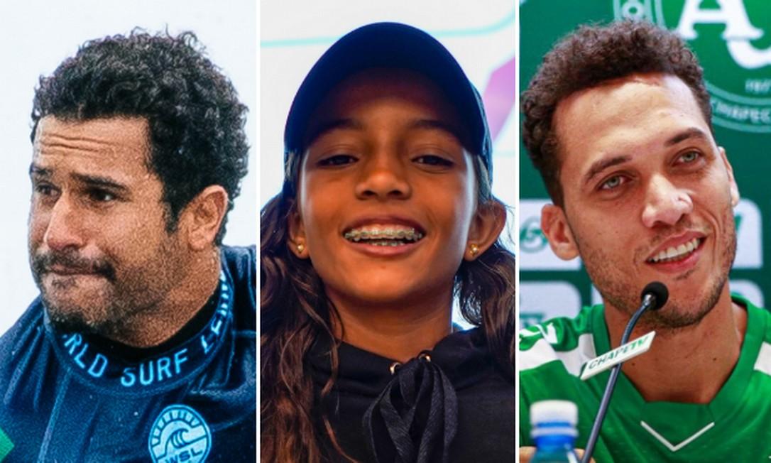 O surifsta ítalo Ferreira, a skatista Rayssa Leal e o zagueiro Neto, representando a Chapecoense, concorrem ao troféu Foto: Editoria de Arte / O Globo