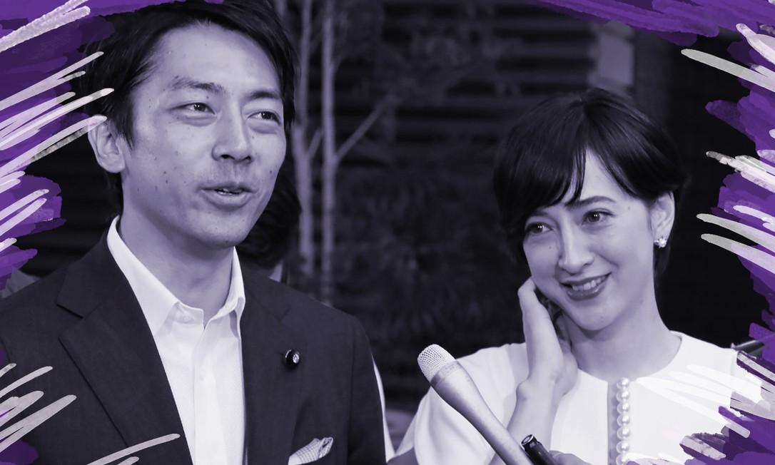 Ao lado de sua mulher, a apresentadora de TV Christel Takigawa, o ministro Shinjiro Koizumi anuncia que irá tirar uma licença-paternidade de duas semanas; anúncio busca incentivar movimento semelhante dos japoneses Foto: Jiji Press/AFP / AFP
