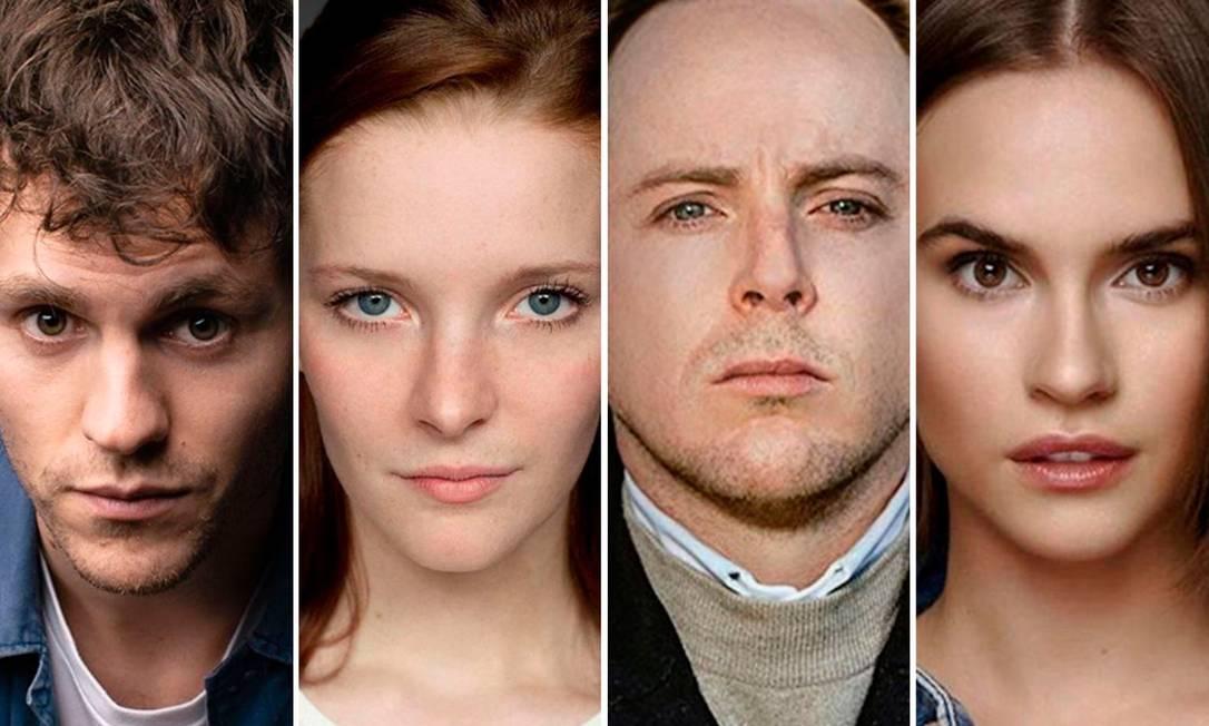 A Amazon revelou os atores que farão sua nova série, baseada em 'O senhor dos anéis'. Na montagem, a partir da esquerda: Charlie Vickers, Morfydd Clark, Tom Budge e Ema Horvath Foto: Fotos de divulgação