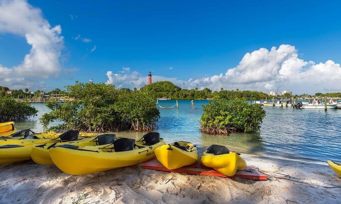 Caiaques nas praias de Jupiter, em Palm Beaches Foto: Divulgação