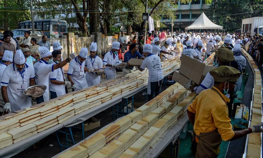 O evento foi organizado pela Associação de Padeiros de Kerala (Bake) Foto: Arun Sankar / AFP