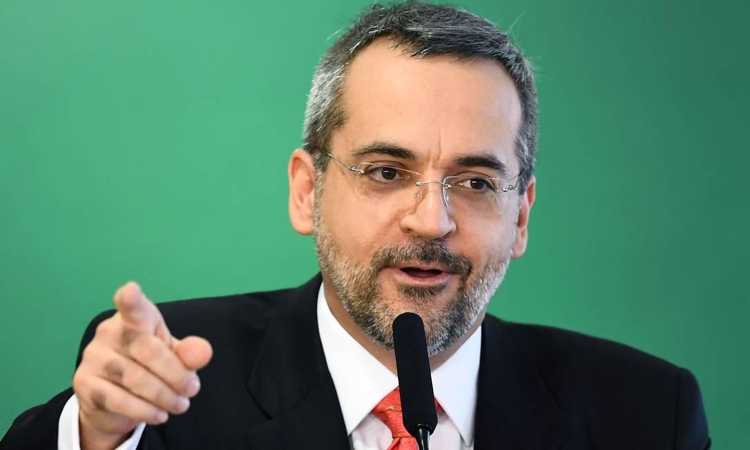 O ministro da Educação, Abraham Weintraub Foto: EVARISTO SA/AFP