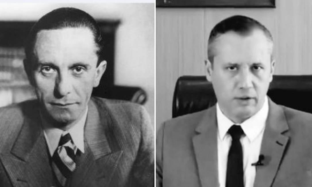 Montagem na internet compara o ministro da propaganda da Alemanha nazista, Joseph Goebbels (à esquerda), com o secretário especial de Cultura, Roberto Alvim (à direita) Foto: Reprodução
