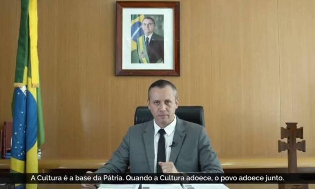 O vídeo gravado por Roberto Alvim, demitido da função por Jair Bolsonaro Foto: Reprodução