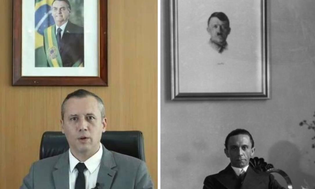 Uma montagem compara o pronunciamento de Roberto Alvim, e uma foto de Joseph Goebbels, na Alemanha nazista Foto: Reprodução