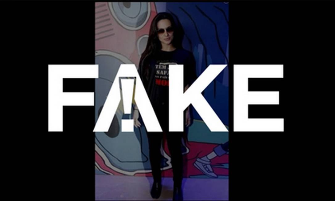 É #FAKE que Cleo usa camiseta com inscrição crítica a Moro Foto: Reprodução