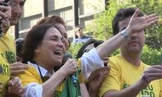 Regina Duarte em manifestação pró-Bolsonaro em 2018 Foto: reprodução