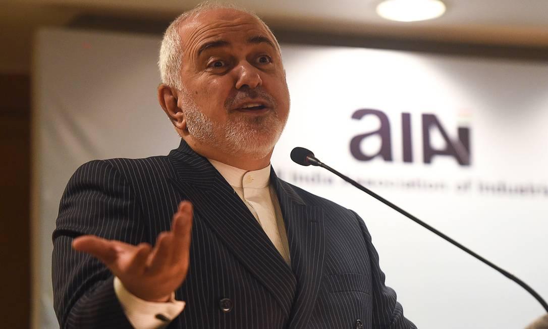 Mohammad Javad Zarif, chanceler do Irã, durante discurso em recente visita à Índia, no dia 17 de janeiro Foto: PUNIT PARANJPE / AFP