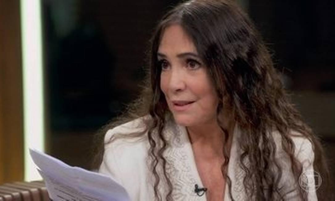 Regina Duarte: 'A arte não tem ideologia. Confunde tudo, atrapalha.' Foto: Reprodução TV Globo