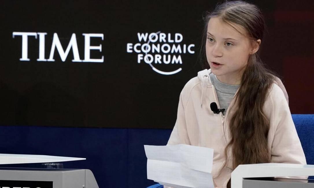 Greta Thunberg participou da abertura do Fórum Econômico Mundial em Davos Foto: Denis Balibouse / Reuters