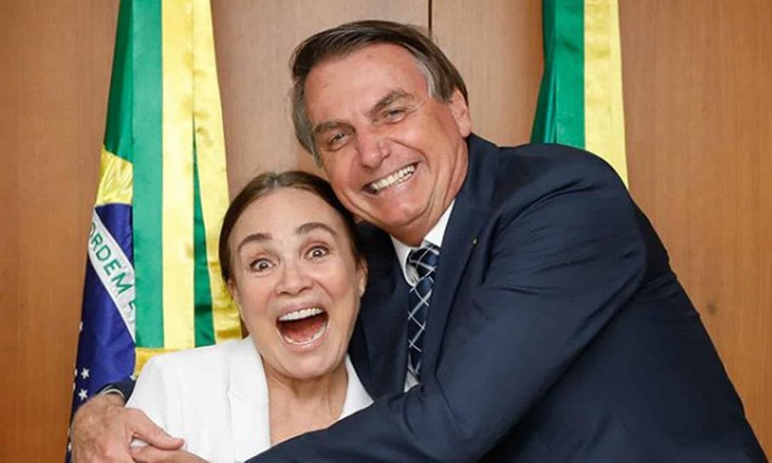 Bolsonaro e Regina Duarte em foto compartilhada pelo presidente no Instagram Foto: Reprodução