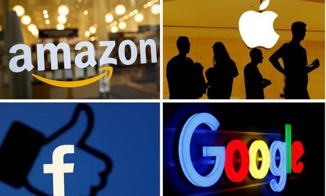 A possibilidade de um acordo internacional para taxar gigantes da tecnologia dos EUA, como Amazon, Google, Apple e Facebook, é sensível Foto: Montagem/Arquivo