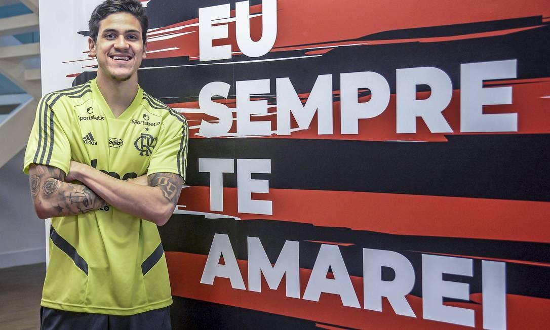 Pedro anunciado pelo Flamengo Foto: Marcelo Cortes / Marcelo Cortes/Flamengo