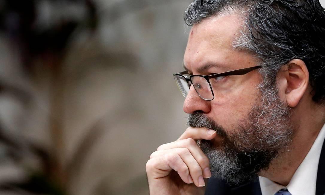 O chanceler brasileiro, Ernesto Araújo, durante Seminário Internacional de Política Estrangeira, em Brasília Foto: ADRIANO MACHADO / Reuters/21/11/2019