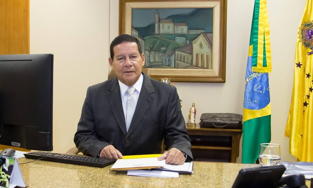 O presidente em exercício Hamilton Mourão Foto: Marcos Correa / Presidência