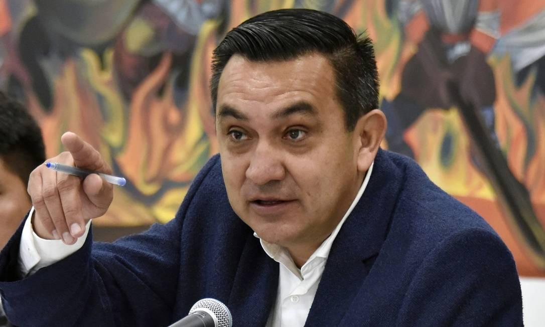 Ministro da presidência, Yerko Núñez, participa de entrevista coletiva em La Paz Foto: AIZAR RALDES / AFP/13-01-2020