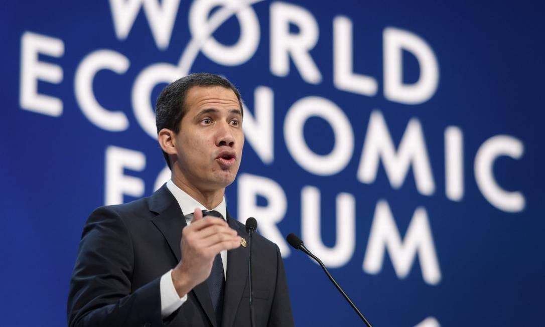 Juan Guaidó, durante discurso no Fórum Econômico Mundial em Davos, na Suíça Foto: Fabrice Coffrini / AFP / 23-01-2020