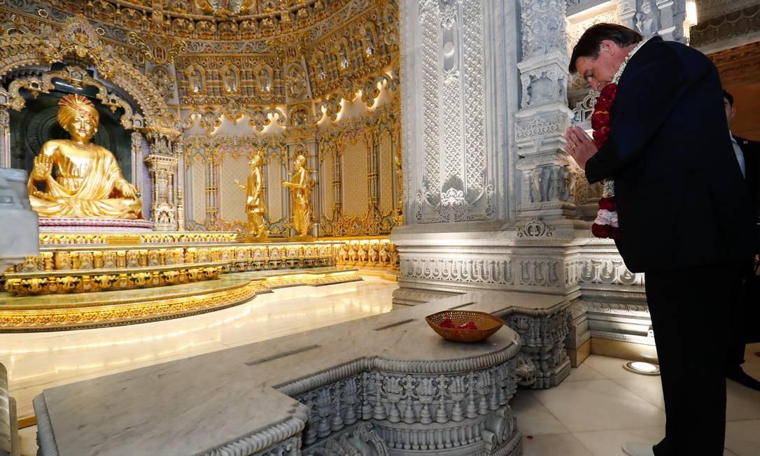 Presidente brasileiro durante sua visita ao complexo de Akshardham, o maior templo hindu do mundo Foto: Alan Santos / Presidência da República