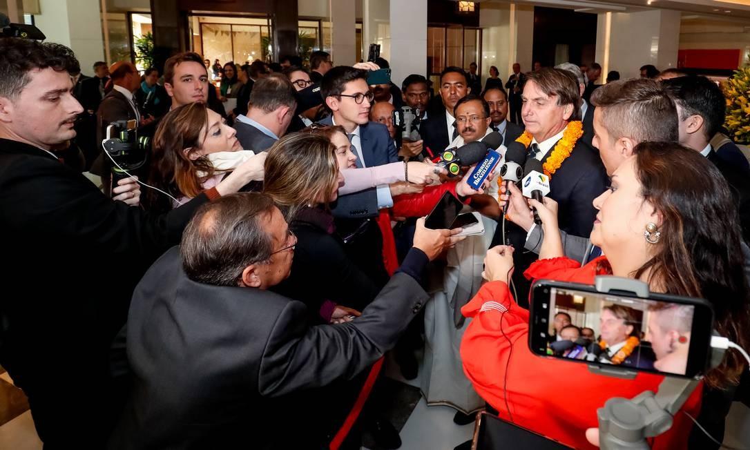 Presidente concede entrevista a jornalistas em Nova Délhi Foto: Alan Santos / Presidência da República