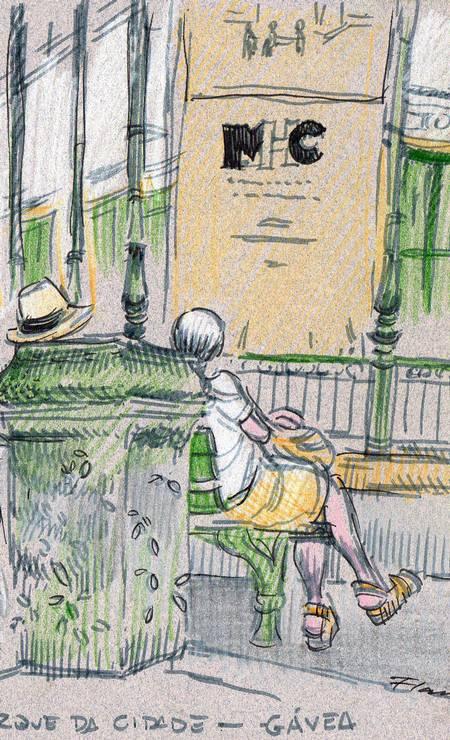 As primeiras saídas, em janeiro, renderam flagrantes do Parque da Cidade e da festa de São Sebastião, na Catedral Metropolitana, que podem ser vistos nesta página. Na foto, Parque da Cidade desenhado por Flavio Pessoa Foto: Flávio Pessoa / Reprodução