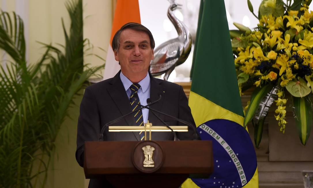 Presidente Jair Bolsonaro discursou no sábado em um encontro com jornalistas junto com o primeiro-ministro da índia Narendra Modi. Foto: MONEY SHARMA / AFP