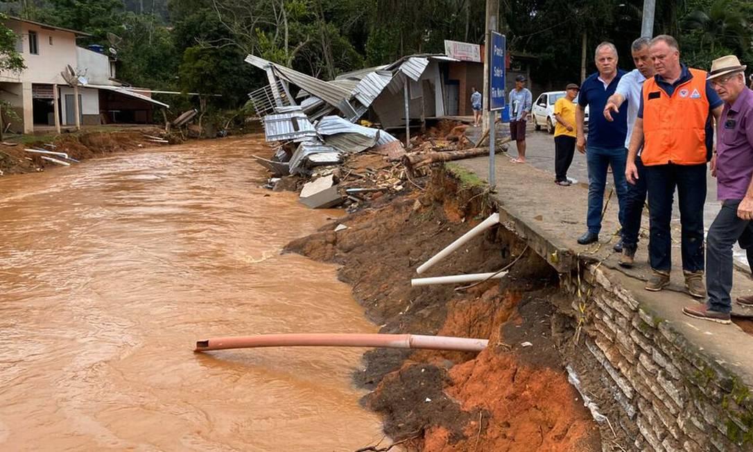 Município de Alfredo Chaves foi um dos mais afetados pela chuva no Espírito Santo Foto: GovES