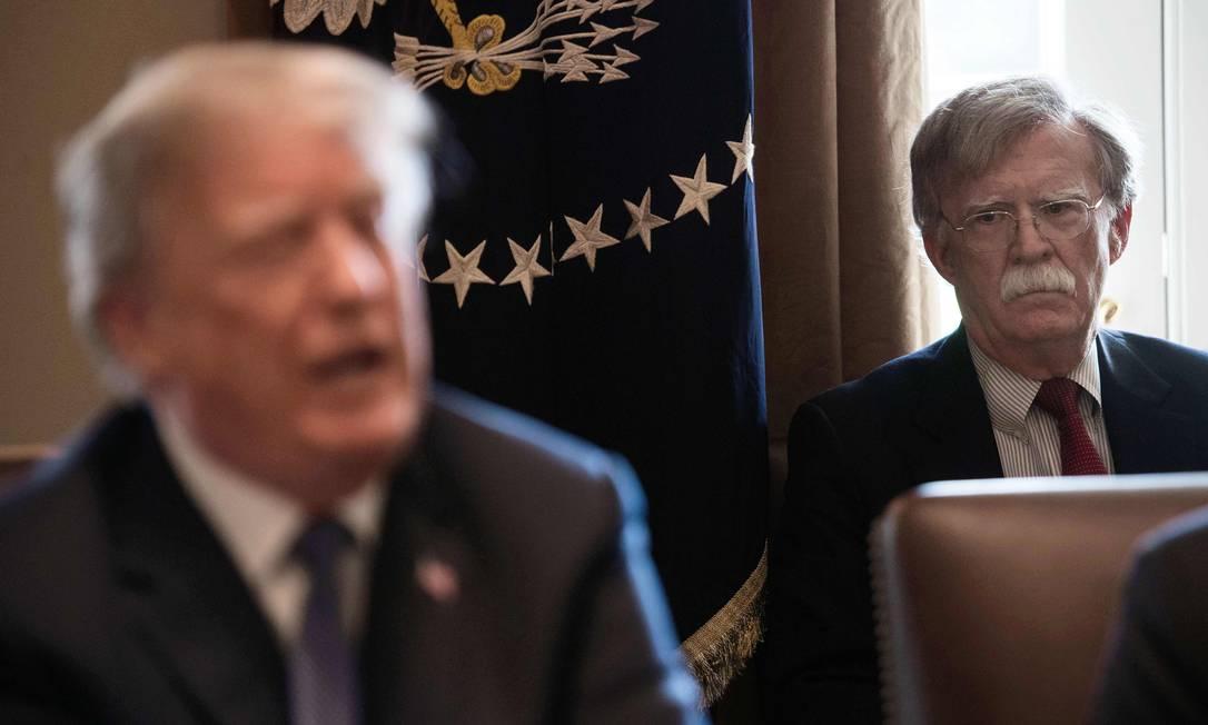 Secretário de Segurança dos EUA, John Bolton, participa de reunião governamental com o presidente americnao, Donald Trump Foto: NICHOLAS KAMM / AFP/9-4-2018