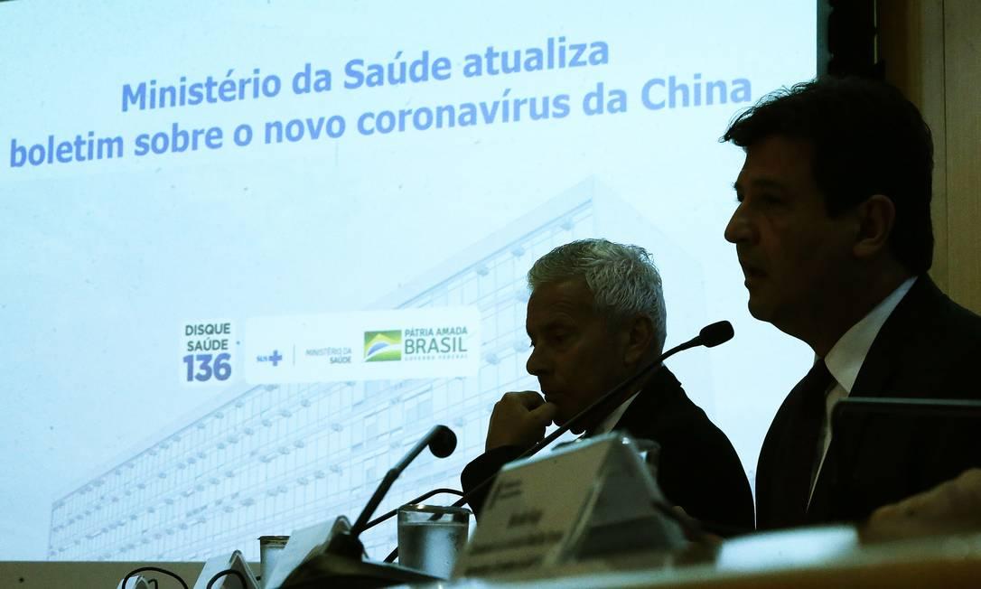 O ministro da Saúde, Luiz Henrique Mandetta concede entrevista à imprensa para atualizar o boletim sobre o novo coronavírus da China após registro de caso suspeito em Belo Horizonte (MG) Foto: Jorge William / Agência O Globo