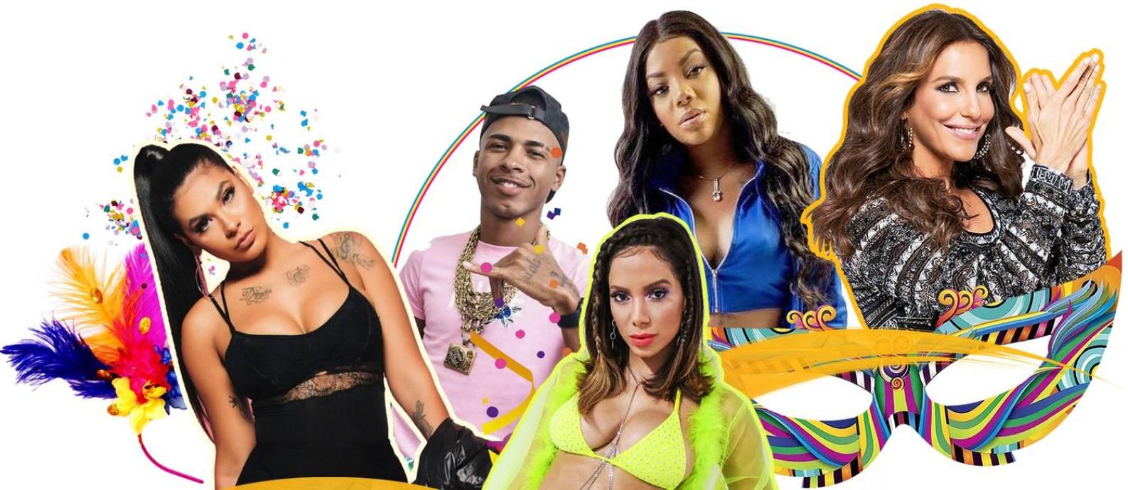 Pocah, Rennan da Penha, Ludmilla, Ivete Sangalo e Anitta: lançamentos para o carnaval Foto: Arte com fotos de divulgação