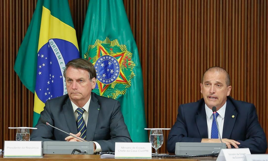 O presidente Jair Bolsonaro e o ministro da Casa Civil, Onyx Lorenzoni 19/11/2019 Foto: Divulgação