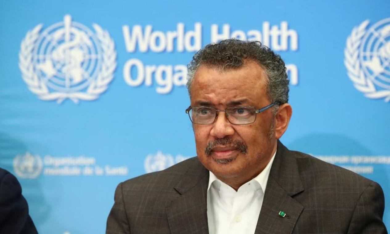 O diretor-geral da Organização Mundial da Saúde (OMS), Tedros Adhanom Ghebreyesus, participa de coletiva após reunião do Comitê de Emergência sobre o novo coronavírus, em Genebra, na Suíça. A orgnaização internacional declarou emergência global de saúde Foto: DENIS BALIBOUSE / REUTERS