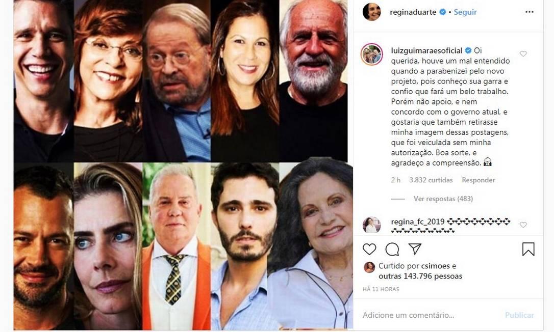 Comentário de Luiz Fernando Guimarães em post de Regina Duarte Foto: Reprodução